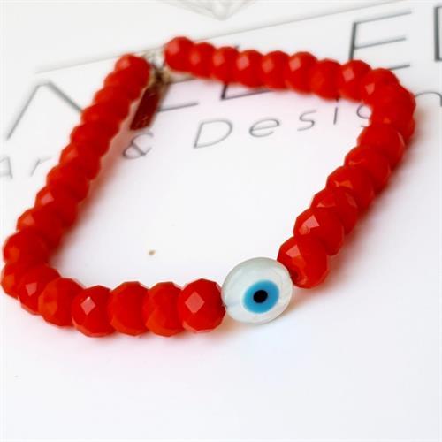צמיד חרוזים-עין שקופה-אדום