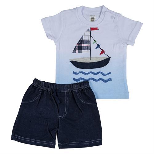 חליפה קצרה הדפס סירת מפרש לבן