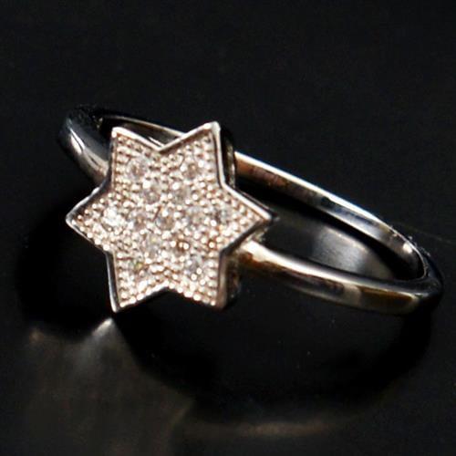 טבעת כסף מגן דוד משובצת זרקונים RG5175