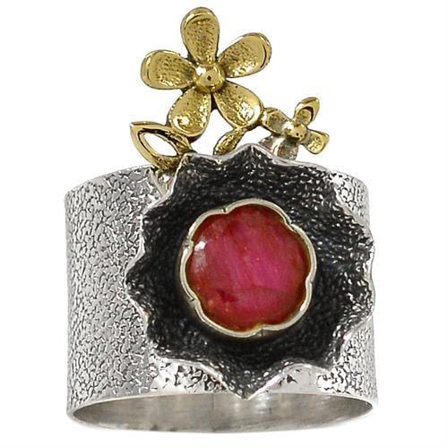 טבעת מכסף מעוצבת, משובצת אבן רובי אדומה  RG5718 | תכשיטי כסף 925 | טבעות כסף