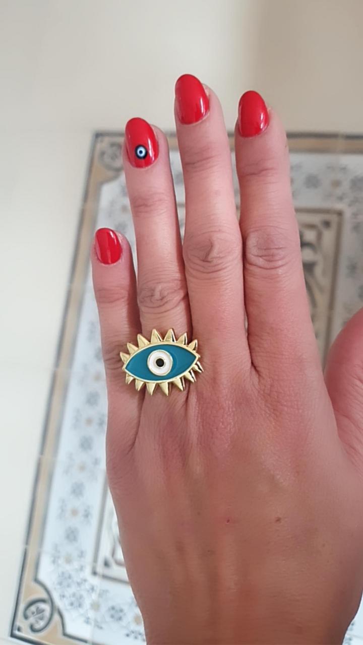 טבעת עין גדולה טורקיז