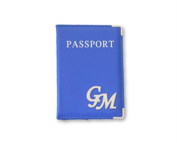 כיסוי לדרכון דמוי כחול רויאל וכסף