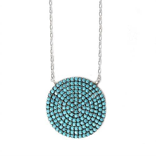 תליון כסף עגול משובץ אבני זרקון כחולות T5843 | תכשיטי כסף 925 | שרשרת כסף