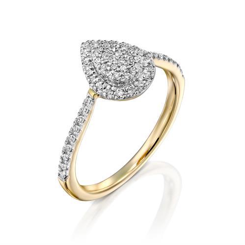 טבעת טיפת המזל משובצת יהלומים בזהב לבן או צהוב 14 קראט