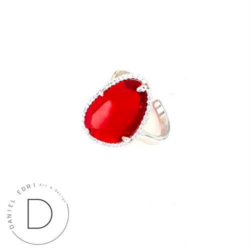 טבעת גלקטיק קטנה-  כסף אדום
