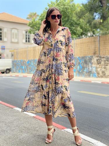 שמלת קיילי שיפון  פרחים בז'