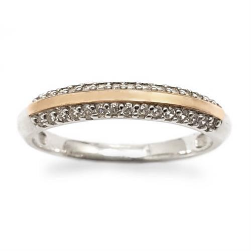 טבעת כסף עדינה מצופה זהב 9K משובצת אבני זרקון  RG8539 | תכשיטי כסף | טבעות כסף