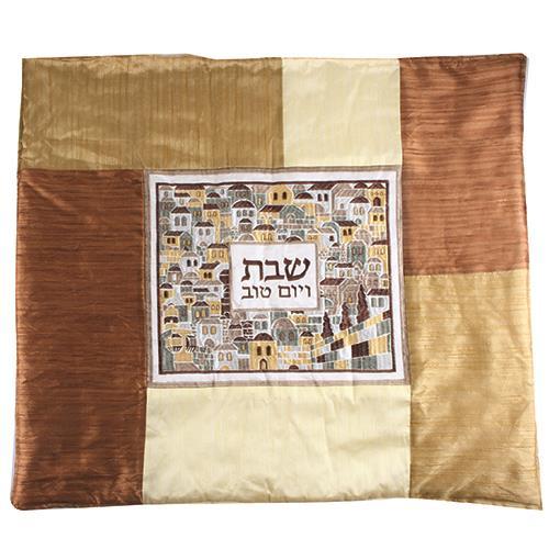 """כיסוי פלטה רקמה ירושלים גווני בז' 70x80 ס""""מ"""