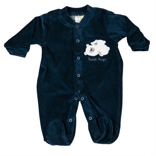אוברול קטיפה הדפס דובים כחול נייבי