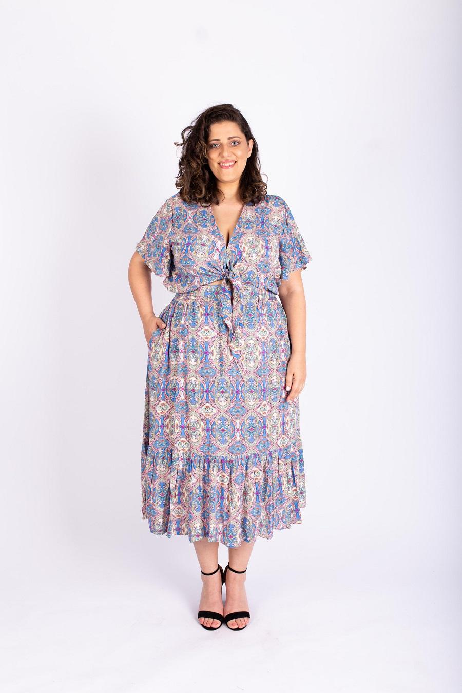 שמלת איה מודפסת כחול