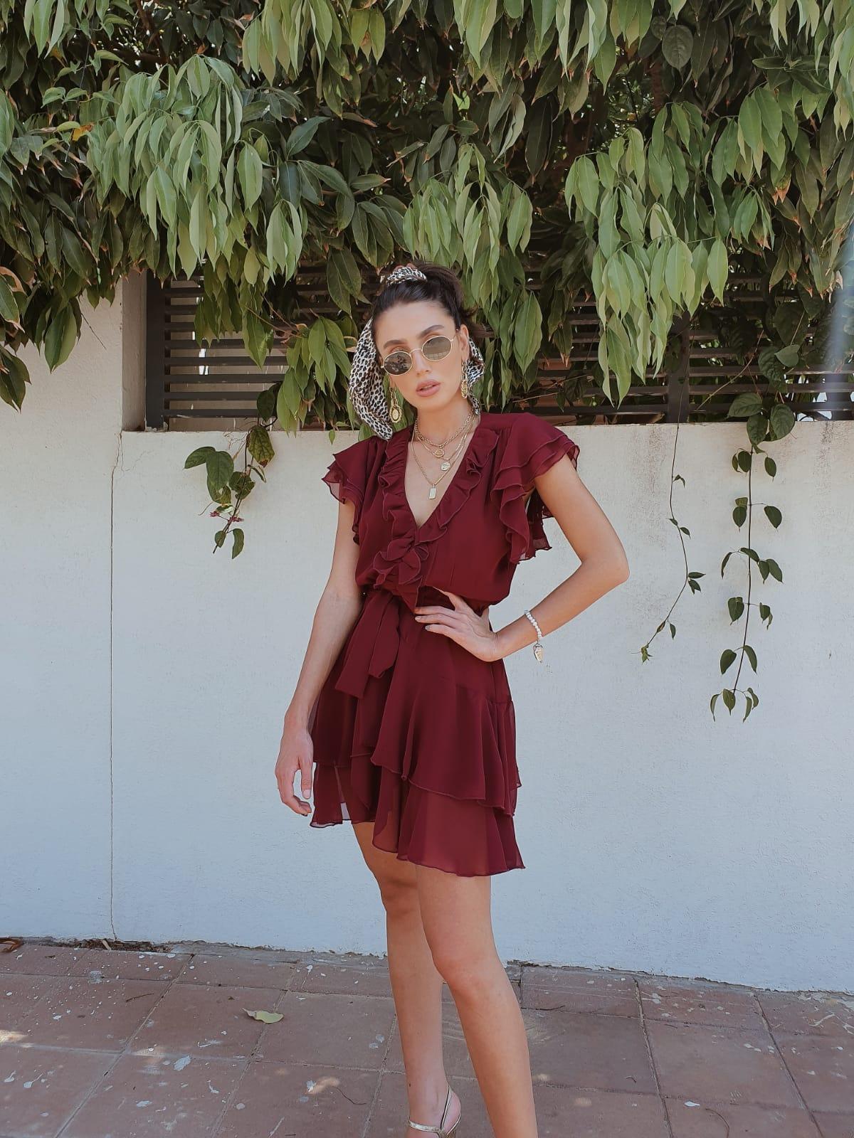 שמלת איה שיפון - בורדו
