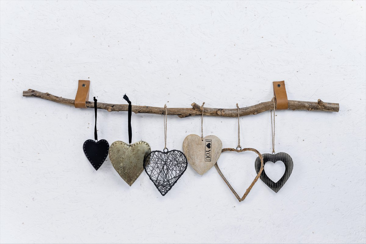 ענף עם 6 יח' לבבות ורצועות עור