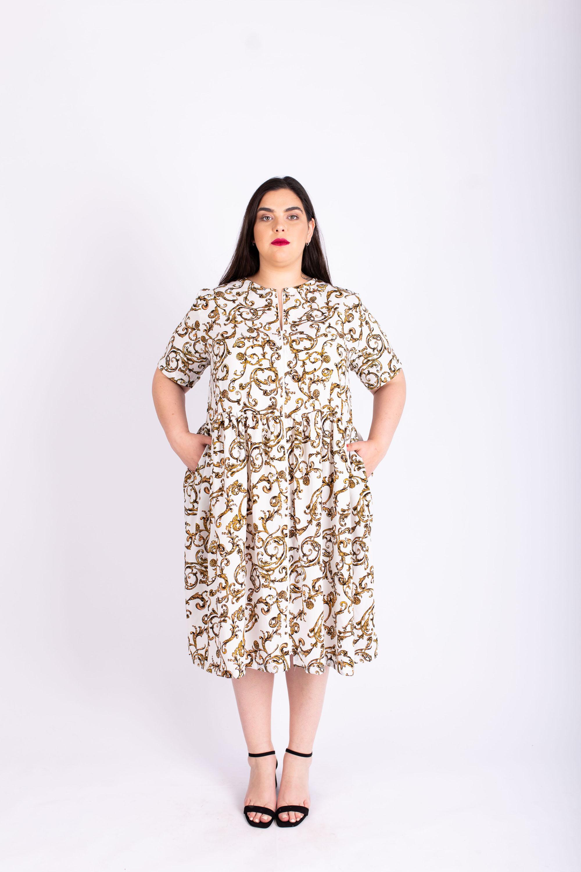שמלת אורי לבנה מודפסת