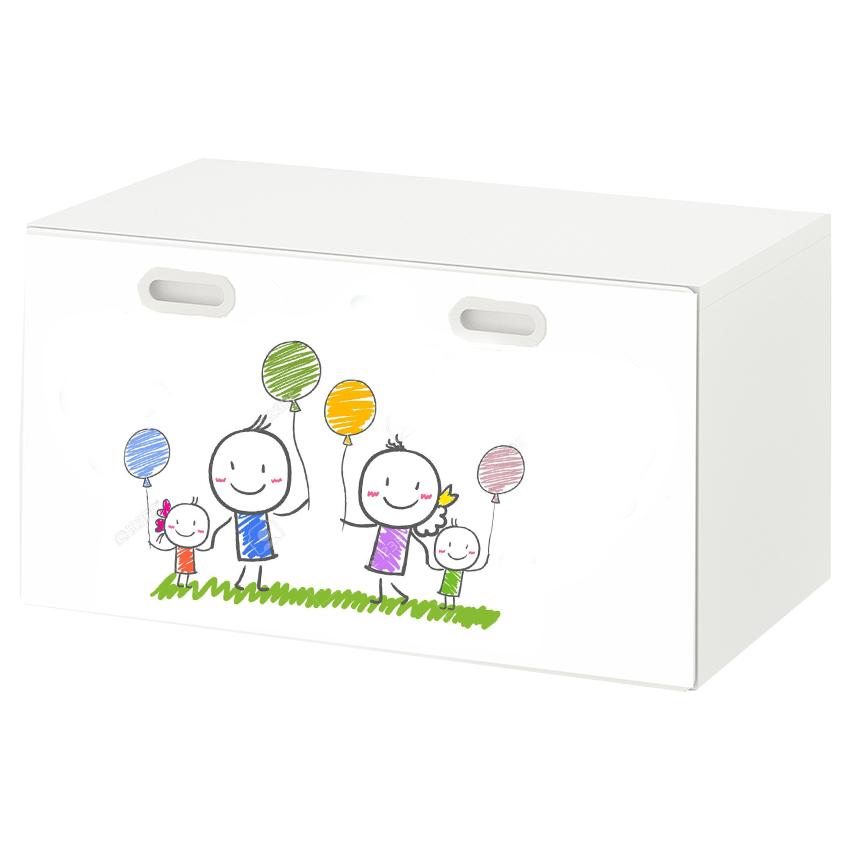 טפט דביק מותאם לספסל אחסון לצעצועים (STUVA)- משפחה מצויירת