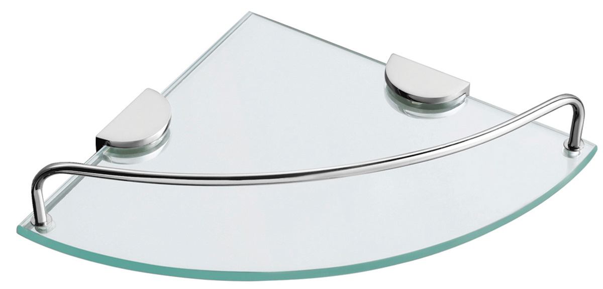 מדף זכוכית פינתי בודד ניקל
