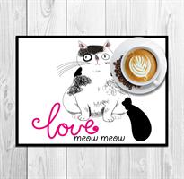 סט פלייסמטים לאירוח cat love 3