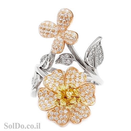 טבעת מכסף משובצת אבני זרקון בשילוב ציפוי גולדפילד RG6006 | תכשיטי כסף | טבעות כסף
