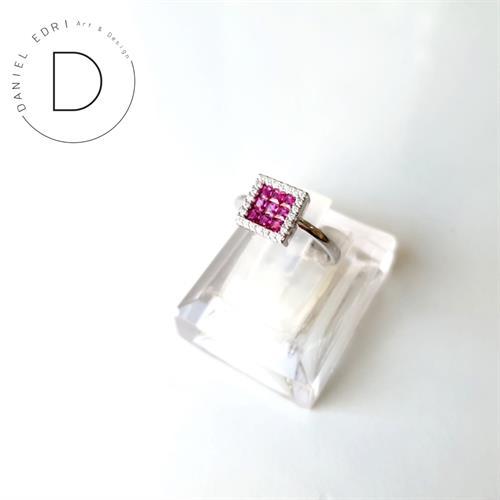 טבעת זרקונים ריבוע ורוד- כסף 925