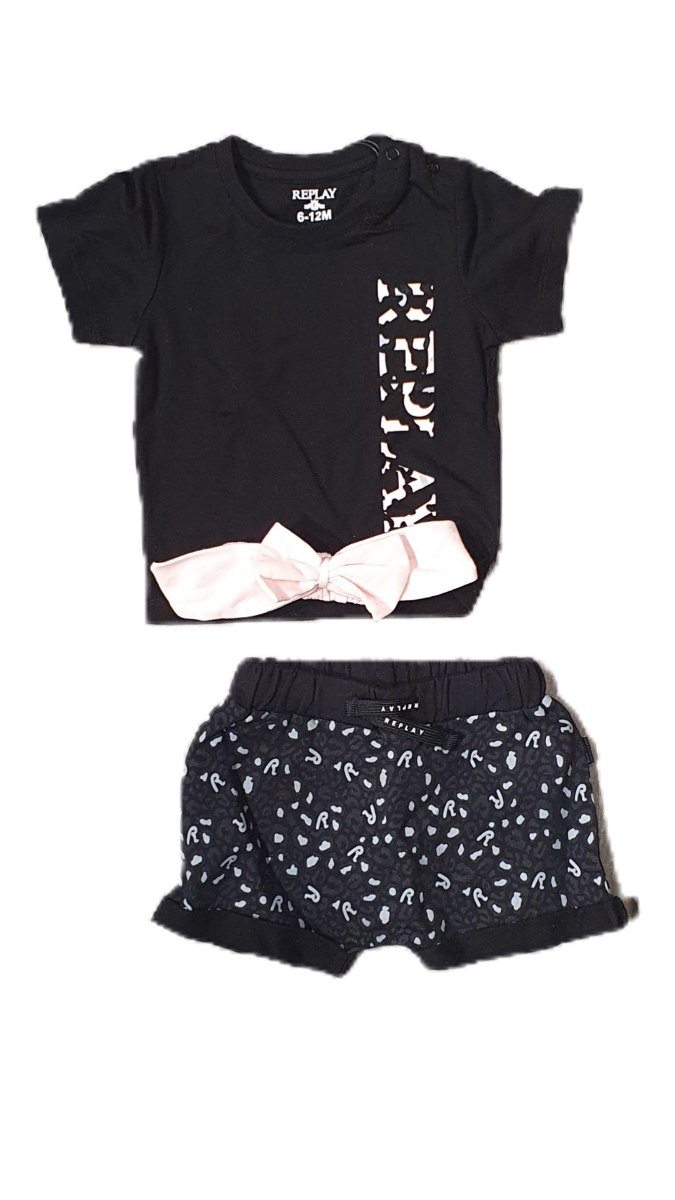 חליפת מכנס 3 חלקים שחור ורוד Replay