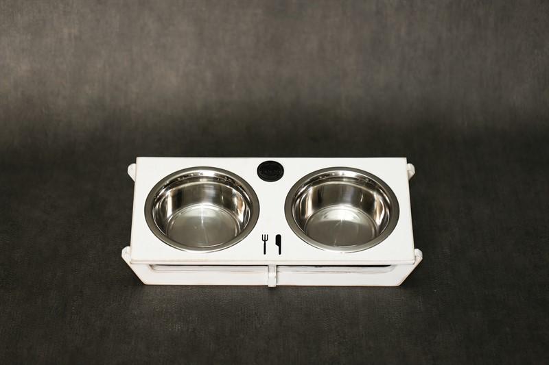 כלי אוכל ושתיה לחתול - שוטים M לבן ווש