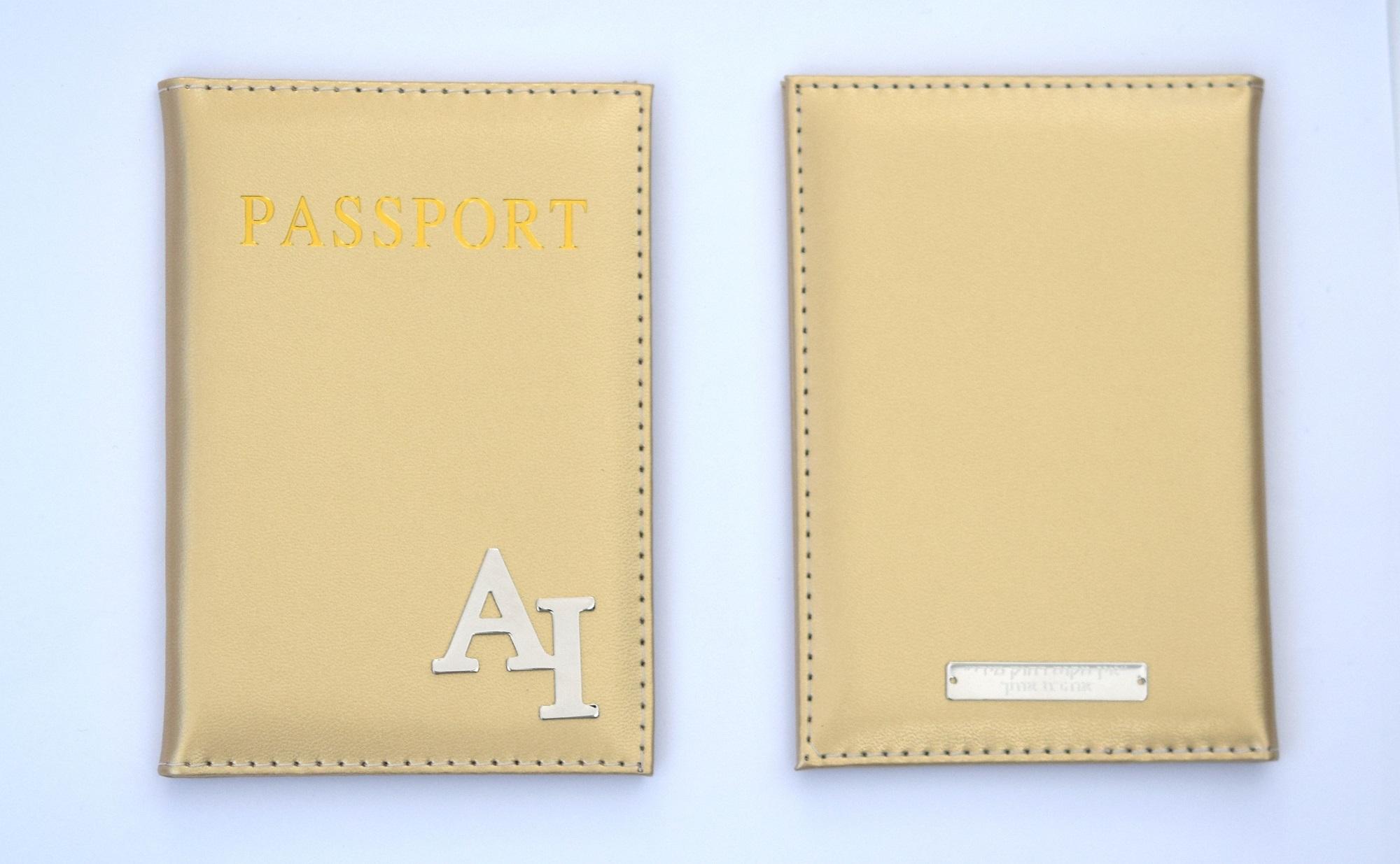 כיסוי לדרכון דמוי עור זהב עם הקדשה אחורית