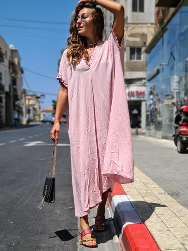 שמלת גלביה ורוד