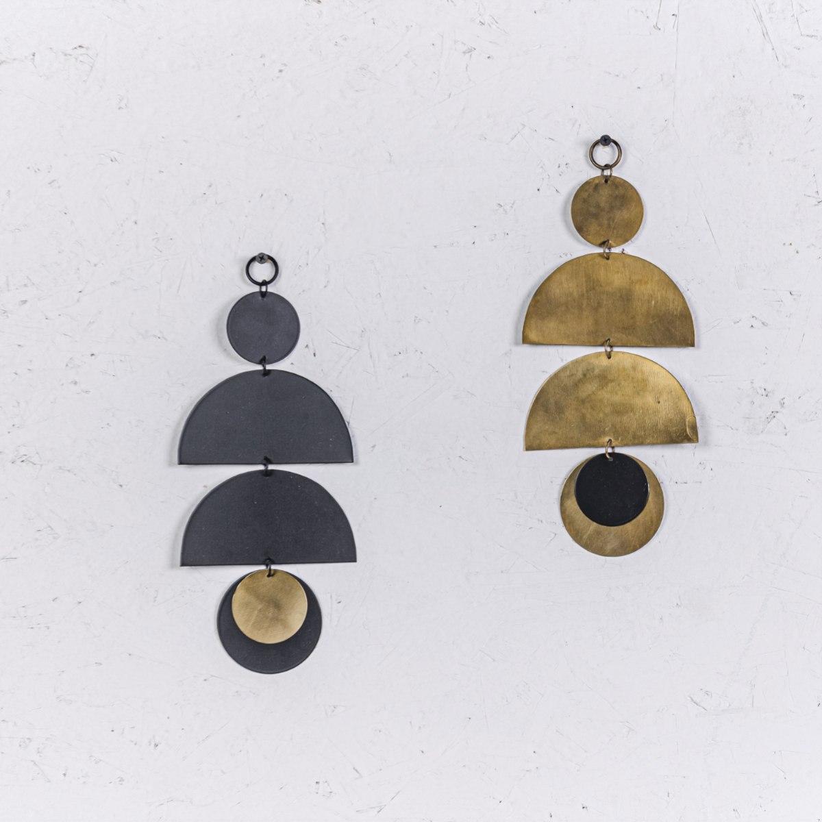 זוג קישוט מתכת לקיר - 3 קשתות (שחור וזהב)