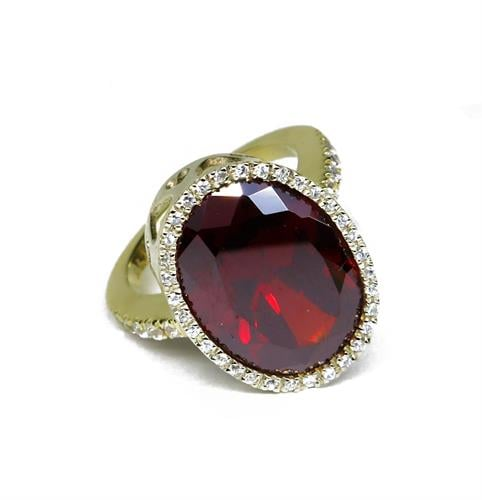 טבעת זהב 14K משובצת זרקון גרנט ואבני זרקון שקופים