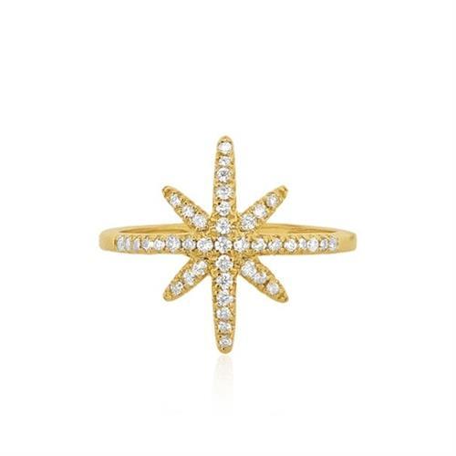 טבעת יהלומים בסגנון שושנת הרוחות 0.35 קראט בזהב 14 קראט