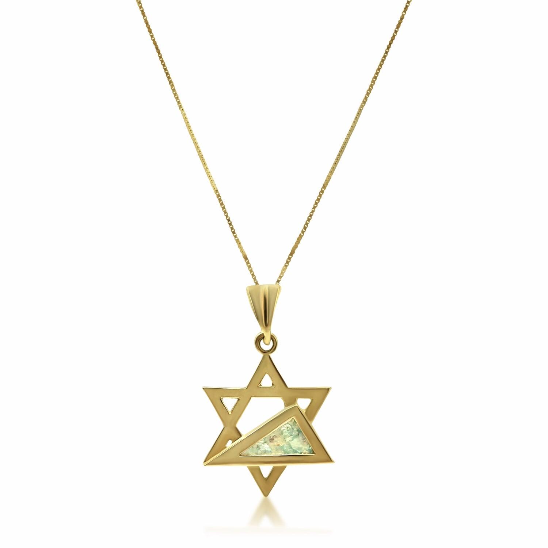 שרשרת זהב מגן דוד מיוחד עם זכוכית רומית