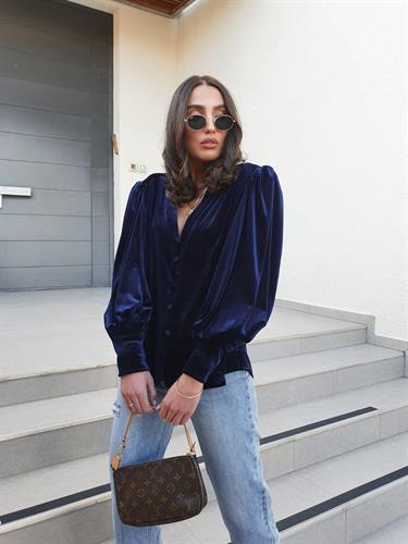חולצת קטיפה ונסה - כחולה