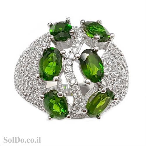 טבעת כסף משובצת אבני כרום דיופסיד וזרקונים RG6004 | תכשיטי כסף 925 | טבעות כסף