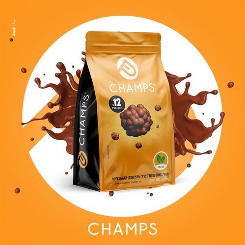 CHAMPS – חטיף חלבון – בייסיק 55% קקאו – טבעוני 1 יח