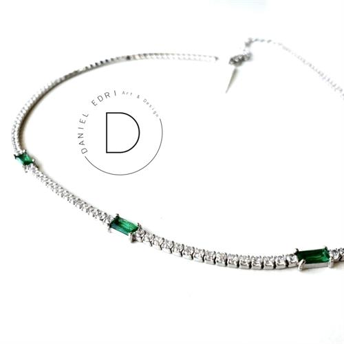 שרשרת צ'וקר מלבנים ירוקים- כסף 925