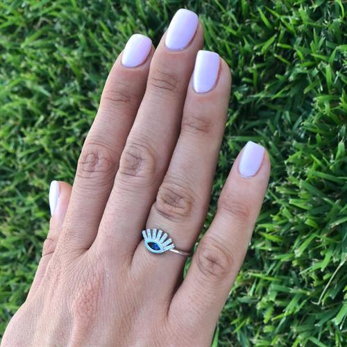 טבעת עין  עם ריסים כסף 925 משובצת זרקון