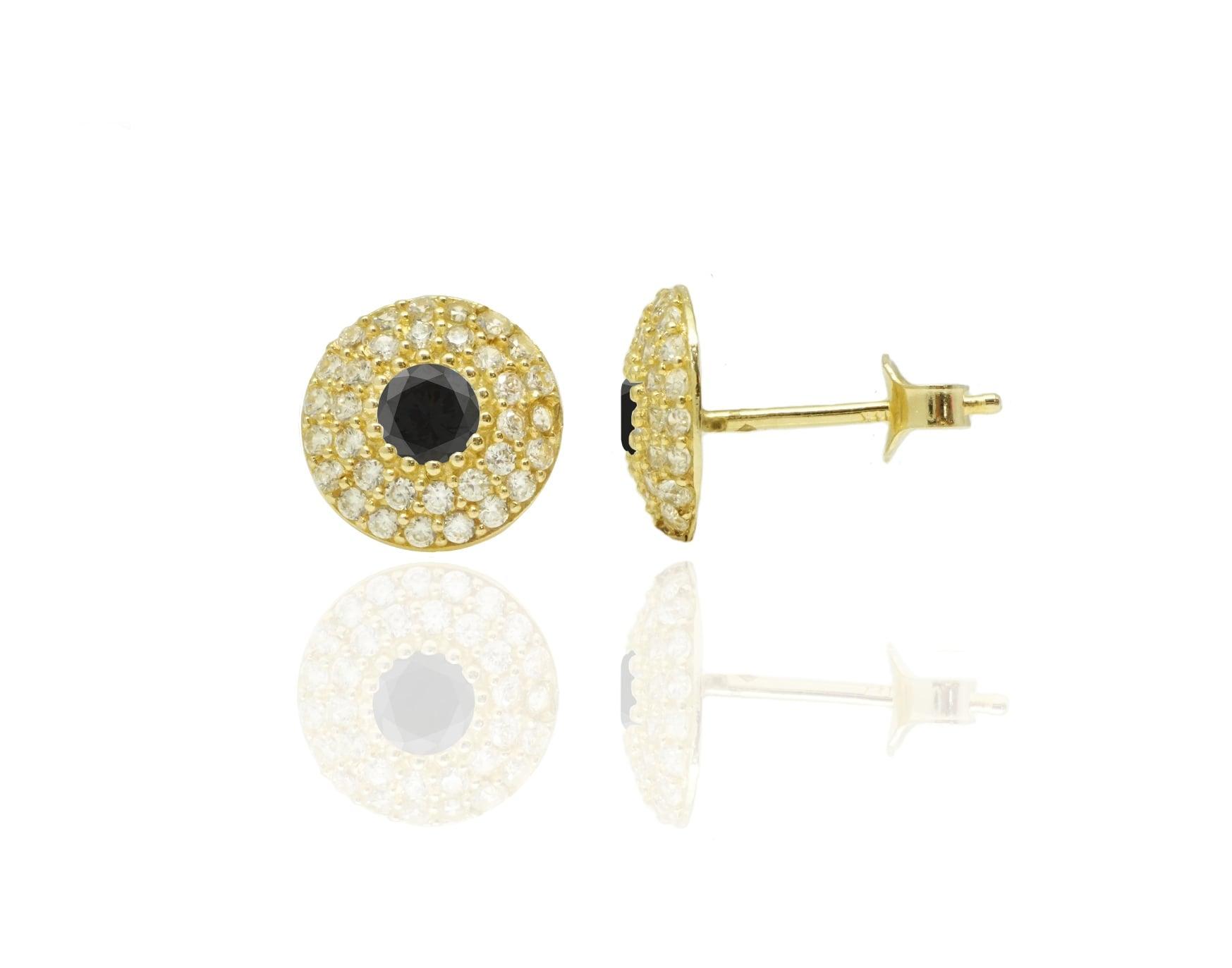 עגילי זהב צמודים מעוצבים משובצים זרקונים בזהב 14 קאראט