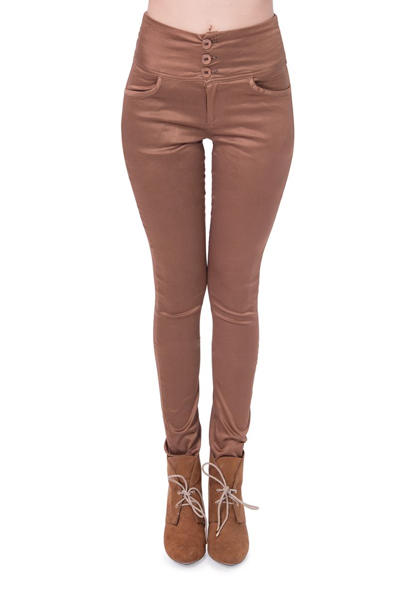מכנס גבוה מבד כותנה ליקרה רך ונעים עם 3 כפתורים חרדל כהה