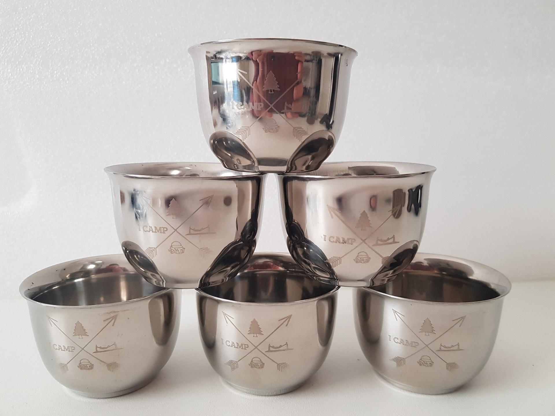 כוסות נירוסטה - דופן כפולה - 5 יחידות