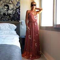 שמלת אדל ורדרד פודרה מודפס ונגיעות כסף
