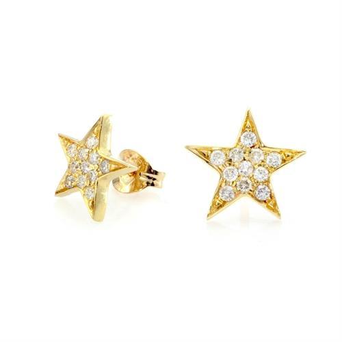 עגילי זהב צהוב 14K בצורת כוכב משובץ יהלומים 0.22 CT