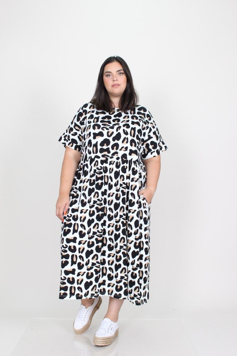 שמלת בריטני טריקו מנומר לבן
