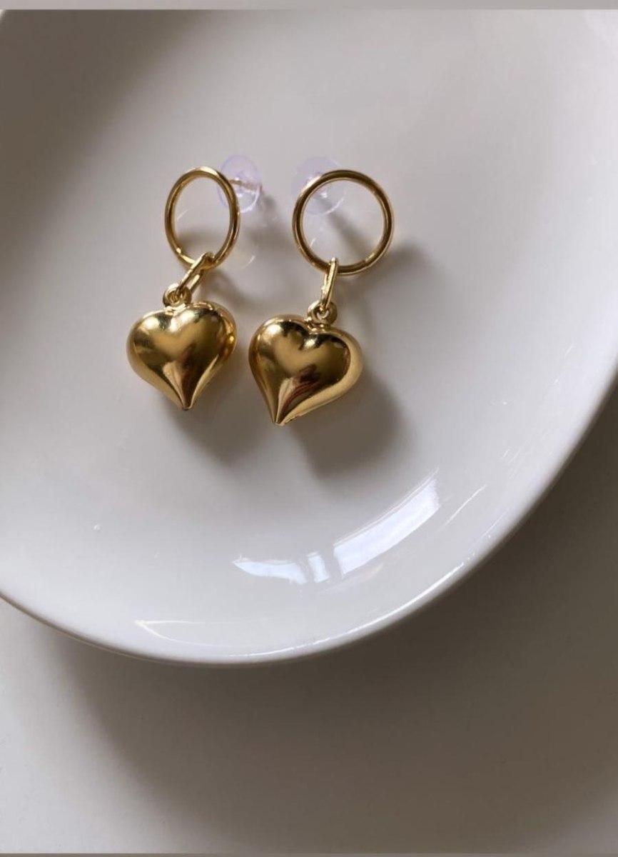 של עגילי לב רטרו ענק זהב
