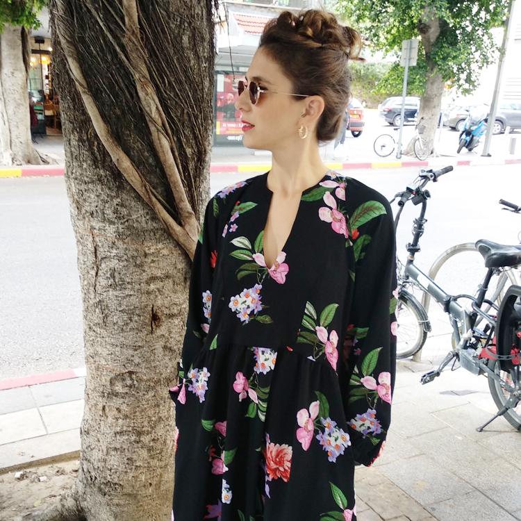 שמלת ליב פרחוני על שחור
