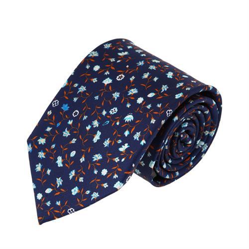 עניבה דגם עלי כותרת כחול נייבי