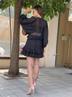 שמלת ערב קצרה שילוב חגורה שמנת