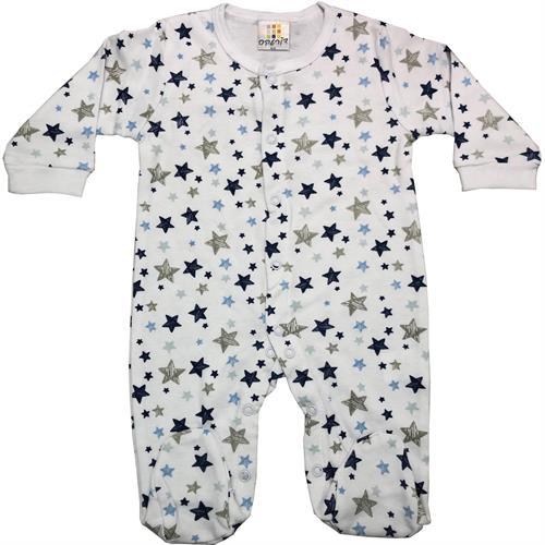 אוברול כותנה כוכבים צבעוניים לבן-אפור-תכלת
