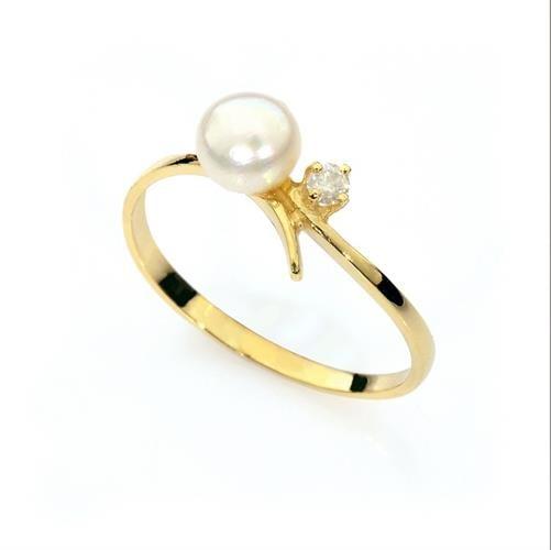 טבעת זהב 14 קרט משובצת פנינה ויהלום