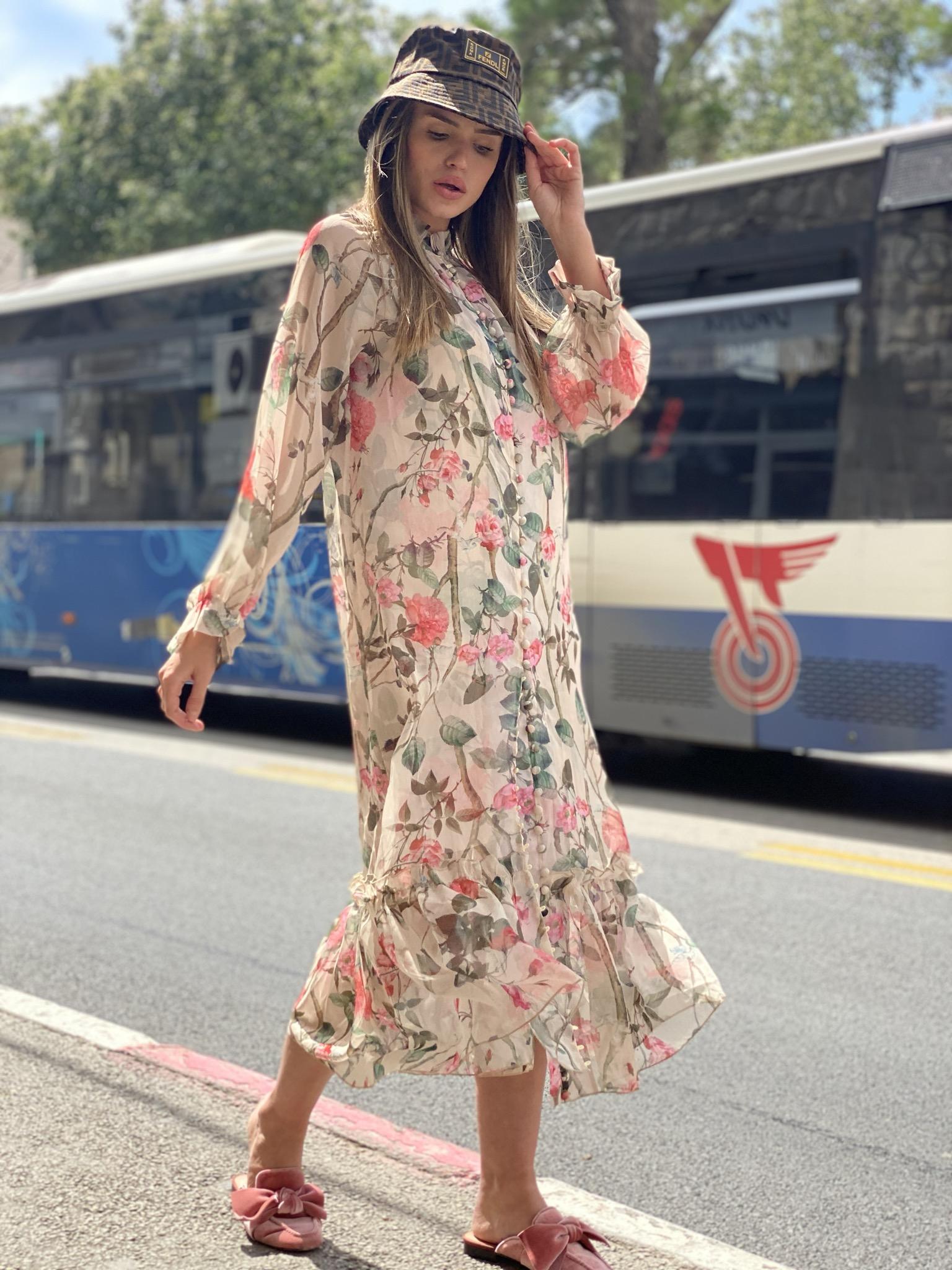 שמלת קוואלי שיפון פרחים