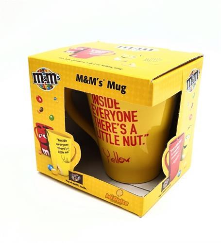 ספל מאג m&m בצבע צהוב עם עדשים