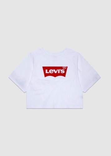 חולצה לבנה לוגו אדום קרופ LEVIS מידות 1-7 שנים